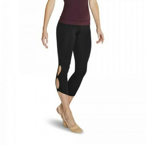 BLOCH Ladies Dance Leggings 7/8 Length Double Keyhole Sides Deep Waistband Black